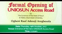 FORMAL OPENING OF UNIOSUN ACCESS ROAD